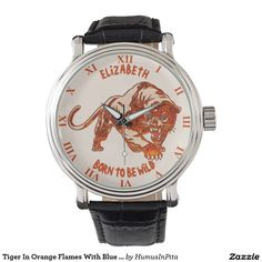 Tiger In Orange Flames With Blue Eyes Wrist Watches