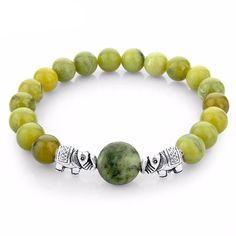 CHOKER Green Natural Stone Beads Bracelets For Women Men Silver Elephant Bracelets Love Ethnic Jewelry 2016 Pulseras Bijoux Sapphire Bracelet, Gemstone Bracelets, Bracelets For Men, Bangle Bracelets, Ethnic Jewelry, Beaded Jewelry, Handmade Jewelry, Prom Jewelry, Ruby Jewelry