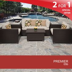 Premier 5 Piece Outdoor Wicker Patio Furniture Set 05b - Design Furnishings