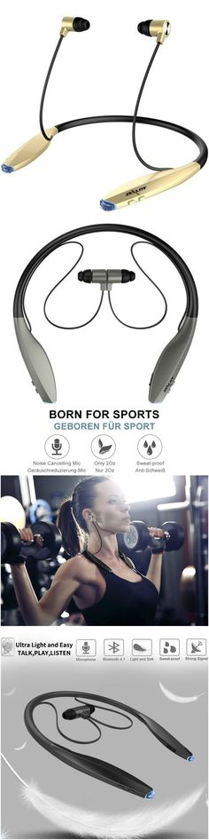Bluetooth Slim Wireless Neckband Sport Earbuds with Magnet Attraction and Mic For iPhone Android  www.smartmmoerns.com #Technology #gadgets #cool