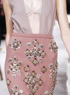Skirt Flirt by Miu Miu Couture Details, Fashion Details, Fashion Design, Runway Fashion, High Fashion, Womens Fashion, Latifa, Embellished Skirt, Classy And Fabulous