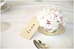Flower in a tea cup. A Glam Vintage Garden Party Wedding.