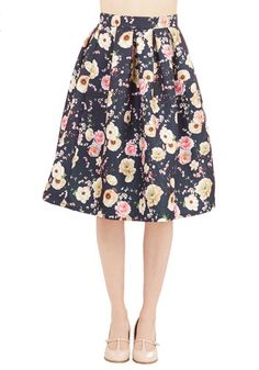 Stemming from Style Skirt. You always exhibit poise and grace, and this beautiful floral skirt only emphasizes those enviable attributes! #blue #modcloth