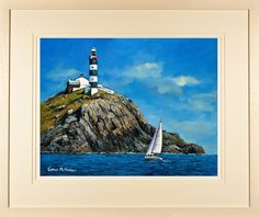 Limited edition prints for sale of a vibrant seascape of a sailboat rounding the rocky Old Head of Kinsale lighthouse by Irish landscape artist Chris McMorrow