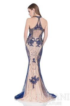 Terani Halter Neck Two-Tone Gown with Beading