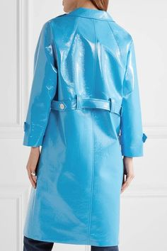 Miu Miu - Appliquéd Faux Patent-leather Coat - Light blue - IT42