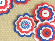 CELEBRATION x 3 Felt Flower Embellishments 4th Of July