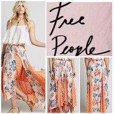 """Free People Floral Printed Maxi Skirt.  NWT. Free People Floral Printed Maxi Skirt, 100% rayon, machine washable, 27"""" unstretched waist which stretches up to 34"""", 30"""" shortest center length, 42"""" longest back length, frayed raw high low hemline, elasticized waist at back, measurements are approx.  No PayPal...No Trades... Free People Skirts Maxi"""