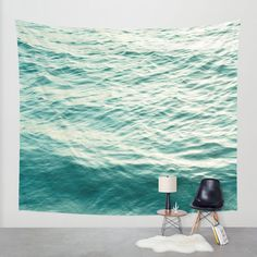 Items similar to Ocean Wall Tapestry Home Decor Large Size Wall Art. tapestry, dreamy tapestry blue decor abstract nursery decor mint sea blue on Etsy Photo Tapestry, Wall Tapestry, Blue Tapestry, Gris Violet, Ocean Bedroom, Modern Tapestries, Water Walls, Water Art, Landscape Walls