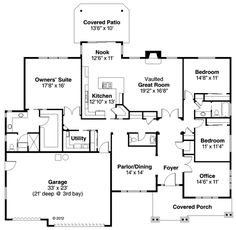 Country European Ranch Traditional House Plan 59494 Level One