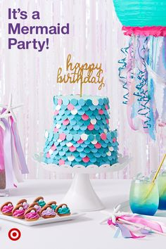 Create a magical under-the-sea theme with a mermaid birthday party. Find decorat… Create a magical under-the-sea theme with a mermaid birthday party. 2 Birthday, Mermaid Theme Birthday, 6th Birthday Parties, Birthday Party Decorations, Birthday Cakes, Birthday Ideas, Mini Tortillas, Little Mermaid Parties, First Birthdays