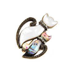 Joji Boutique - abalone and mother-of-pearl kitty pin