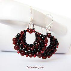 garnet-black earrings