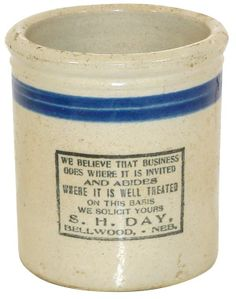 56: Stoneware, advertising beater jar from S.H. Day, Be : Lot 56