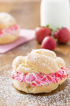 Awareness month.  #cookingforacure Pink is the color and I created cream puffs with strawberry mousse.