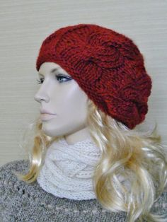 Womens Cable Slouchy Slouch Hat in Bulky Rich by mckelveydalton, $35.00