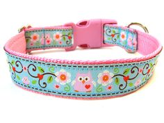 I want one of these for Shelby Mae.  Owl Dog Collar Pink and Blue Owl Dog Collar. $18.00, via Etsy.