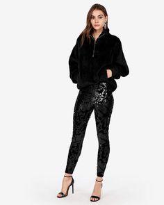 5f44a028fb364 Express Velvet Sequin Embellished Legging ($48) ❤ liked on Polyvore  featuring pants, leggings, black, express pants, express legging…