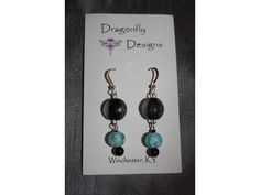 Black and Blue Glass Sterling Earrings. Dragonfly Designs.