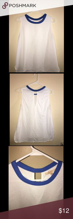 Sellingn super cute white sleeveless blouse White thin fabric with blue trim. Zara Tops Blouses