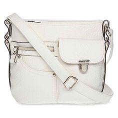 <p>Reminiscent in structure of 1970s denim handbags, our mini crossbody bag boasts four exterior. I prefer this bag in Tabasco (pink) or Cremeni (tan) colors. This bag is only $23 with lots of pockets and zipped compartments @ JCPenney.