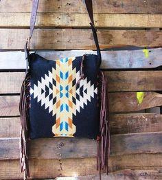 Leather  Wool Black Fringed Bag