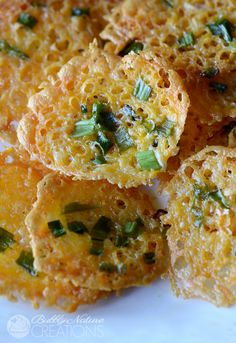 Crispy Cheddar Cheese and Green Onion Chips!  Yummy low carb treat that is a great sub for regular chips and croutons.  Trim Healthy Mama S!...