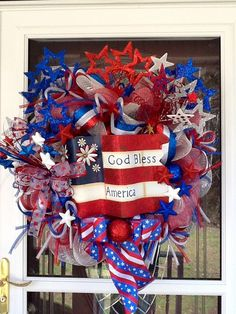 4th of July Mesh Wreath full of Stars, Stripes and ribbons
