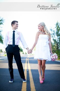 Love the shot style wise---her pink shoes and his pink suspenders. Would need a willing man on this one!
