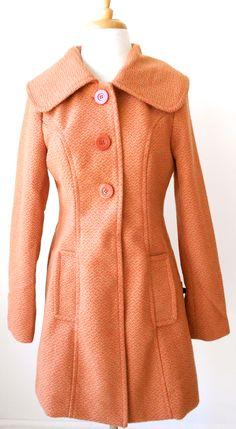 Orange and Brown Pea Coat! $89.99