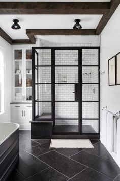 Inside the Unexpectedly Colorful Chango & Co-Designed Modern Farmhouse - my dream Apartment - Bathroom Decor Bad Inspiration, Bathroom Inspiration, Bathroom Ideas, Bathroom Showers, Bathroom Images, Shower Ideas, White Bathroom, Bathroom Interior, Modern Bathroom