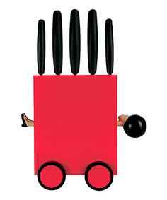 This Red Magic Knife Block Set by Guzzini is perfect! #zulilyfinds,,,,,each knife boasts a durable stainless steel blade, so slicing and dicing is simple and safe.....    •Includes knife block and five knives •5.9'' W x 13.77'' H x 4.52'' D •Medium-density fiberboard / ABS / stainless steel •Dishwasher-safe * $60/$100