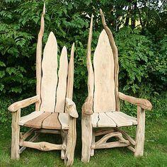Driftwood garden chairs