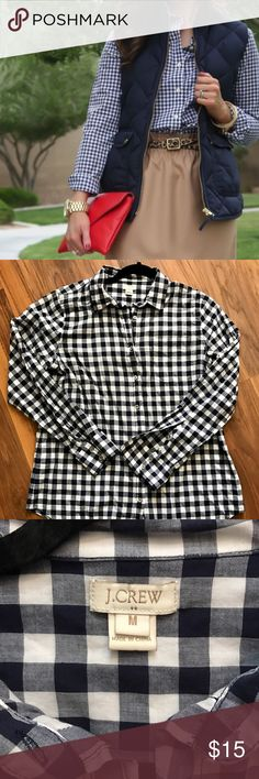 J. Crew Factory navy & white gingham button down J. Crew Factory navy and white gingham button down. Only worn once. J. Crew Factory Tops Button Down Shirts