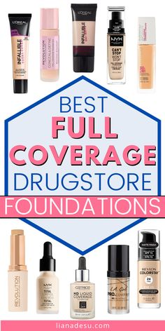 The best full coverage drugstore foundations to try in Find your perfect full coverage foundation with this list of drugstore foundations. Full Coverage Drugstore Foundation, Makeup Tips Foundation, Foundation For Oily Skin, Learn Makeup, Makeup To Buy, Cheap Makeup, Best High End Makeup, Makeup Guide, Makeup Ideas