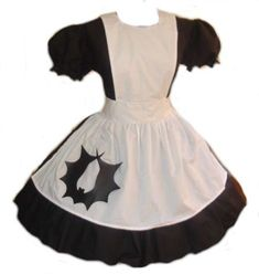 4b7b1ff2376 Items similar to Gothic Alice Dress Goth Lolita Alice in Wonderland Black  Dress White Apron Bat Skull Womens Adult Custom Size Plus Sizes Halloween  Costume ...