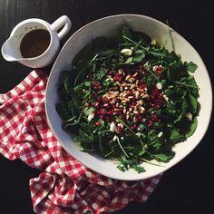 arugula and pomegranate salad with maple Dijon vinaigrette