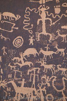 Petroglyphs; Looks like Newspaper Rock in Utah (saw this in 2009? while camping in Moab with Jim and Nick)