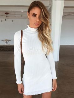 ab32d6fb81c7 White Bodycon Dress Long Sleeve Crewneck Cotton Shaping Mini Dress #Dress,  #Long,