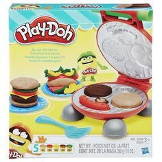 Play-Doh Burger Barbecue Play Set - Grill up the fun and have a Play-Doh barbecue! Pretend lunchtime creations are up to the imagination with this set of tools. Inside the grill, creative cooks can imagine their own make-believe hamburgers, hot dogs, buns, and toppings, and then shape them with Play-Doh compound!