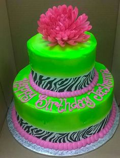 2 Tier Neon Green Hot Pink Zebra Stripes Buttercream Icing Large Flower