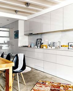 White kitchen units with white worktop, needs concrete floor for balance?