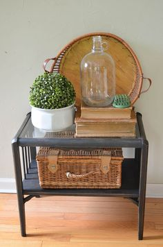 Check out what a difference a little black chalk paint can make on this old yard sale table. |  www.andersonandgrant.com
