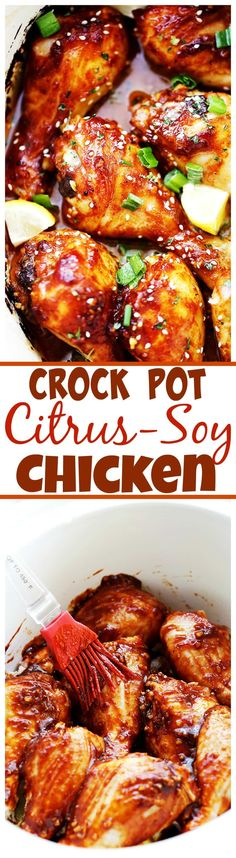 Crock Pot Citrus-Soy Chicken Drumsticks - These super easy chicken drumsticks are loaded with flavor, and they're made in the crock pot for a simple, no-fuss dinner.