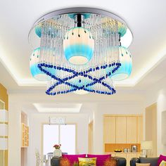 Fashion Elegant Blue Crystal Bedroom Ceiling Lamp Modern Living Room Ceiling Lamp Dining Room Ceiling Lamp