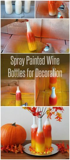 Spray Painted Wine Bottles for Decoration