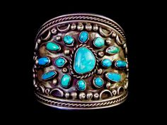 Big Daddy 179g Vintage Navajo Sterling Silver Cuff Bracelet w Glorious Kingman Turquoise Stones! Fantastic Silversmithing Details!