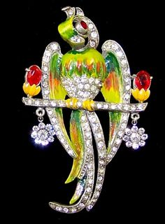 STARET Extremely Rare 1940's Enamel & Rhinestones Large 'Parrot' on a from sharons-sparkles on Ruby Lane