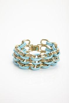 Lisa Ho Oval Link 3 Row Enamel Bracelet.