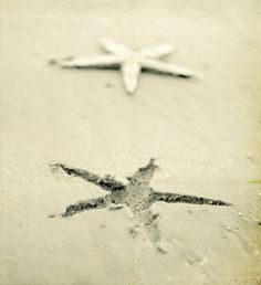 Black and White Beach Photography Starfish Sand by KaelynRyan, $25.00